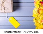 rose flowers leaves with gift...   Shutterstock . vector #719992186