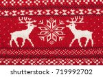 red knitted fabric with moose... | Shutterstock . vector #719992702