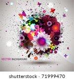 grunge floral background. eps10 | Shutterstock .eps vector #71999470