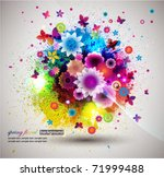 grunge floral background. eps10 | Shutterstock .eps vector #71999488