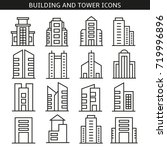 building and tower icons | Shutterstock .eps vector #719996896