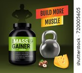 mass gainer ads. vector... | Shutterstock .eps vector #720005605