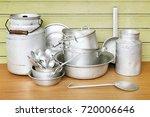 old aluminum kitchen utensils... | Shutterstock . vector #720006646