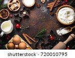 christmas baking background.... | Shutterstock . vector #720010795