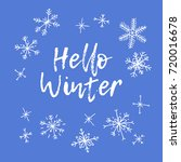 hand drawn winter card. blue... | Shutterstock .eps vector #720016678