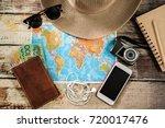 traveler items vacation travel... | Shutterstock . vector #720017476