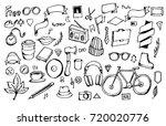 set of hipster doodle... | Shutterstock .eps vector #720020776