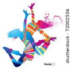 two dancing girls with colorful ... | Shutterstock .eps vector #72002536
