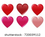 set of six hearts colored with...   Shutterstock .eps vector #720039112