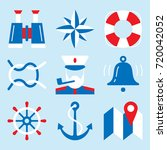 nautical icon set with marine... | Shutterstock .eps vector #720042052