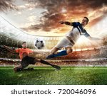 football scene with competing... | Shutterstock . vector #720046096