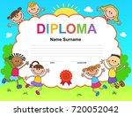kids diploma certificate... | Shutterstock . vector #720052042