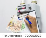 gas meter and euro bank notes.... | Shutterstock . vector #720063022