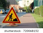 caution   public works on the... | Shutterstock . vector #720068152