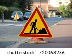 caution   public works on the... | Shutterstock . vector #720068236