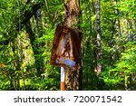old rusty signs of caution on... | Shutterstock . vector #720071542