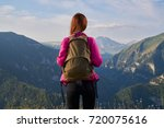 a woman travels in the... | Shutterstock . vector #720075616