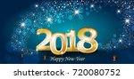 new year with lights and blue... | Shutterstock . vector #720080752