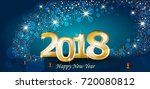 new year with lights and blue... | Shutterstock .eps vector #720080812