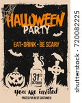 halloween poster with pumpkin... | Shutterstock .eps vector #720082225