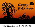 happy halloween card. tree ... | Shutterstock .eps vector #720093268