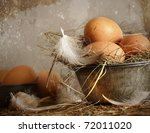 Brown Speckled Eggs With Straw...