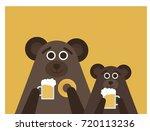 bears drinking beer. flat...   Shutterstock .eps vector #720113236