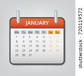 january 2018 calendar concept... | Shutterstock .eps vector #720119572