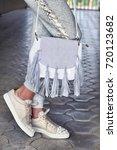 the woman wears a gray... | Shutterstock . vector #720123682