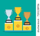 gold silver and bronze medals... | Shutterstock .eps vector #720128956