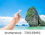 happy traveler and coral in... | Shutterstock . vector #720133492