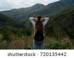 a young girl is traveling in... | Shutterstock . vector #720135442