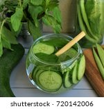 cucumber water and  mint in the ...   Shutterstock . vector #720142006