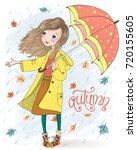 hand drawn beautiful cute girl... | Shutterstock .eps vector #720155605