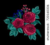 vector embroidery with floral... | Shutterstock .eps vector #720160336