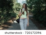 young pretty and sporty girl...   Shutterstock . vector #720172396