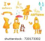 watercolor set of cute girls in ... | Shutterstock . vector #720173302