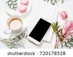 social media flat lay with... | Shutterstock . vector #720178528
