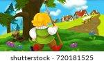 cartoon scene with traveler...   Shutterstock . vector #720181525