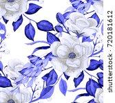 watercolor flower seamless...   Shutterstock . vector #720181612