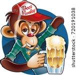 drunken monkey with baseball... | Shutterstock .eps vector #720191038