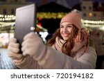 winter holidays and people... | Shutterstock . vector #720194182