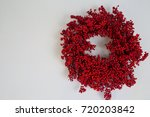 holiday berry wreath on white... | Shutterstock . vector #720203842