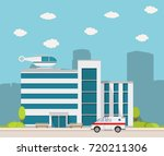 city the building hospital for... | Shutterstock . vector #720211306
