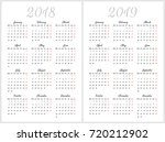 simple calendar for 2018 and... | Shutterstock .eps vector #720212902