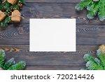 christmas dark wooden... | Shutterstock . vector #720214426