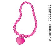 vector pink beaded necklace... | Shutterstock .eps vector #720218512