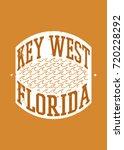 key west stamp beach sea... | Shutterstock .eps vector #720228292