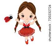 vector cute little girl with... | Shutterstock .eps vector #720232726
