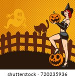 retro halloween pin up witch... | Shutterstock .eps vector #720235936